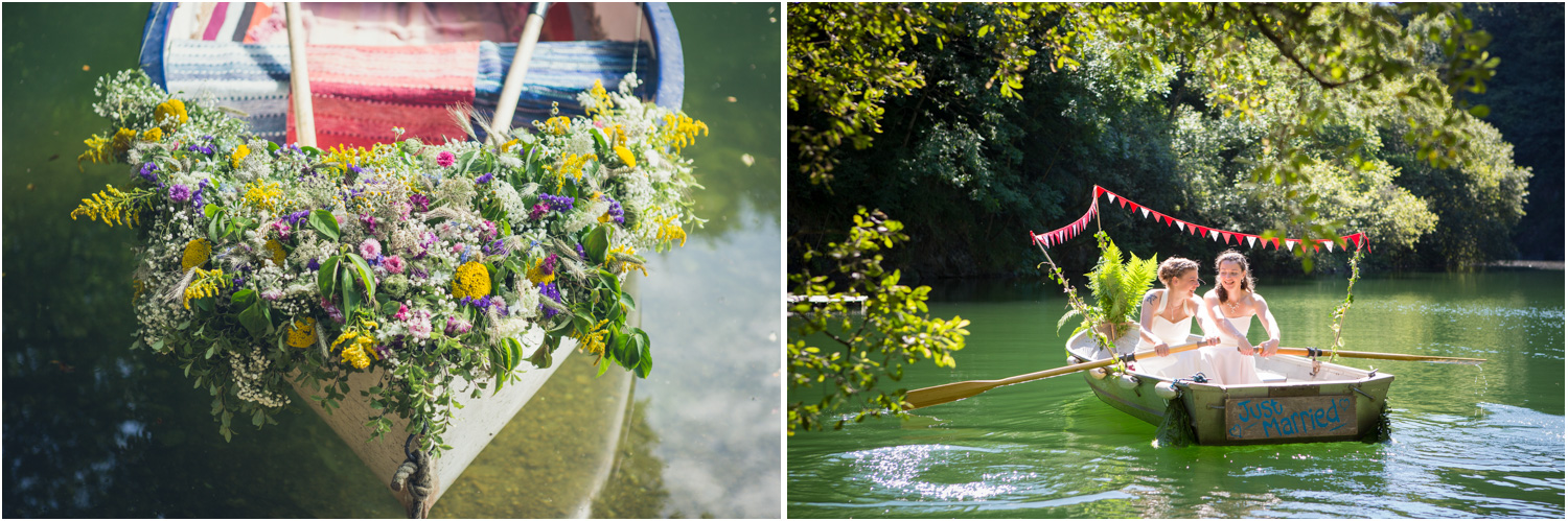 11 bridal boats with bunting and balloons