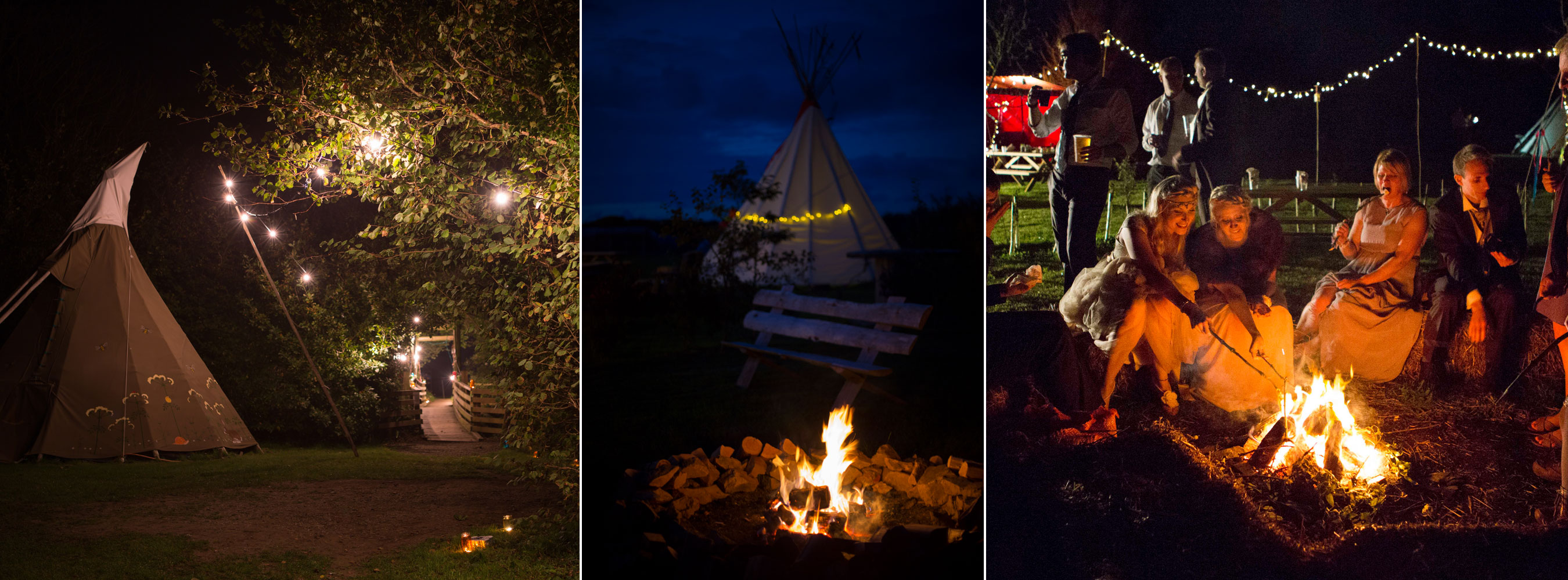 Night Fire Pit Tipis