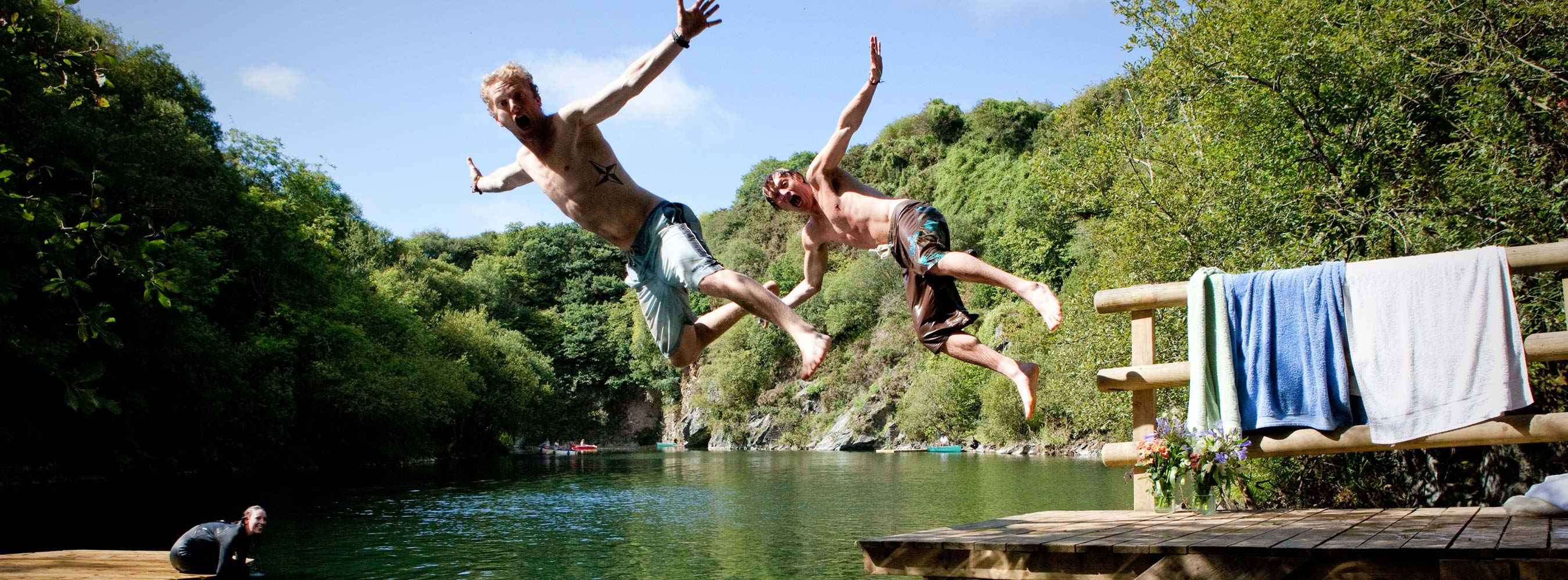 Guests Jumping in the Lake